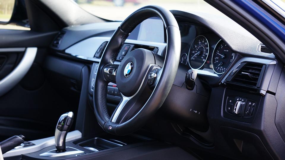 dashboard of a BMW car