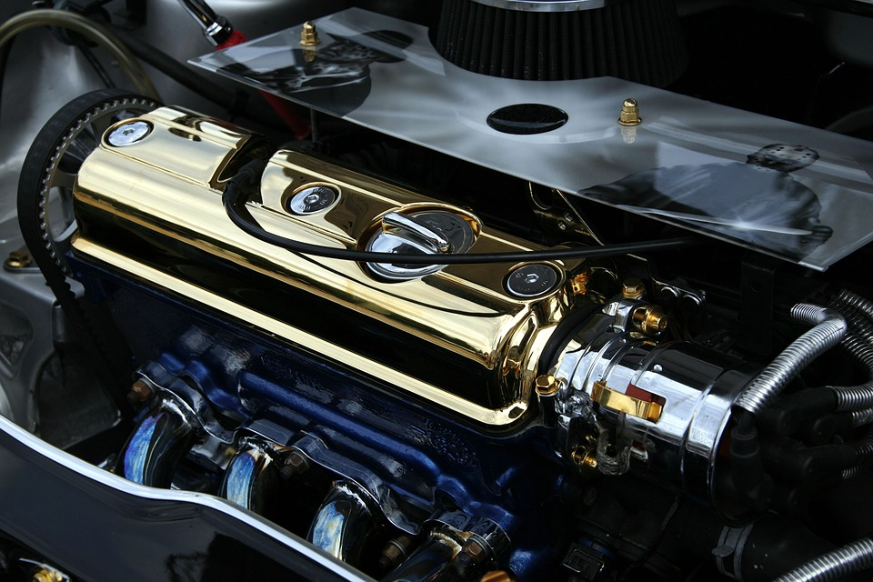 beautiful gold plated car engine