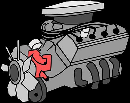 cartoon figure of a car engine