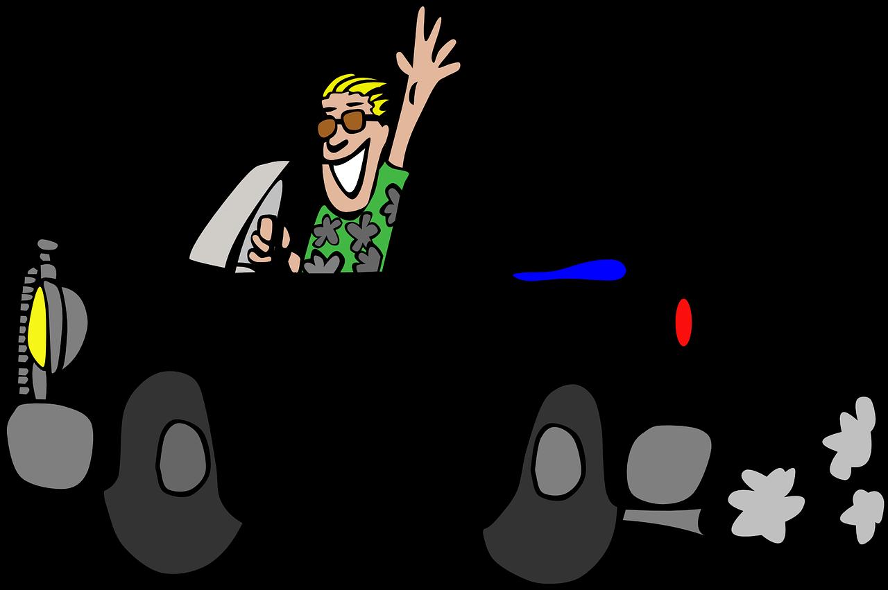 cartoon figure of a man waving on a black car